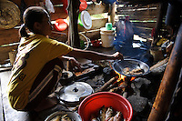 A woman frying recently caught carp on an organic farm, nr Makassar, Sulawesi, Indonesia.