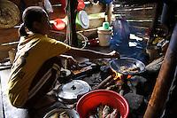 A woman frying recently caught carp on an organic farm, nr Makassar, Sulawesi, Indonesia.