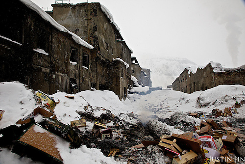 A former iron-processing plant lays abandoned in Kirovsk city in Murmansk Province. Since the collapse of the Soviet Union, many heavy industries in the Arctic were closed as it no longer makes economic and strategic sense to support these industrial communities in the extreme climate and isolation.