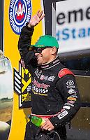 Nov 13, 2016; Pomona, CA, USA; NHRA top fuel driver J.R. Todd during the Auto Club Finals at Auto Club Raceway at Pomona. Mandatory Credit: Mark J. Rebilas-USA TODAY Sports