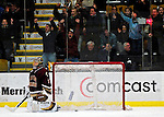 "19 January 2007: Boston College goaltender Corey Schneider from Marblehead, MA, gives up a goal during a Hockey East matchup against the University of Vermont at Gutterson Fieldhouse in Burlington, Vermont. The UVM Catamounts defeated the BC Eagles 3-2 before a record setting 50th consecutive sellout at ""the Gut""...Mandatory Photo Credit: Ed Wolfstein Photo."