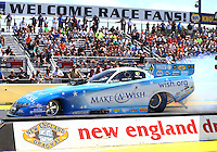 Jun 6, 2016; Epping , NH, USA; NHRA funny car driver Tommy Johnson Jr during the New England Nationals at New England Dragway. Mandatory Credit: Mark J. Rebilas-USA TODAY Sports