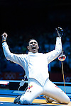 Mcc0041438 . Daily Telegraph..DT Sport..2012 Olympics..Learn to Love..Venezuelan Ruben Limbardo in the mens Epee individual rounds at the ExCel centre...1 August 2012...