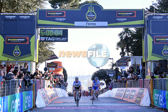 World Champion Peter Sagan (SVK) Bora-Hansgrohe crosses the finish line ahead of Thibaut Pinot (FRA) FDJ in Fermo to win Stage 5 of the 2017 Tirreno Adriatico running 210km from Rieti to Fermo, Italy. 12th March 2017.<br /> Picture: La Presse/Gian Mattia D'Alberto | Cyclefile<br /> <br /> <br /> All photos usage must carry mandatory copyright credit (&copy; Cyclefile | La Presse)
