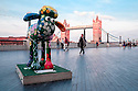 London, UK. 07.04.2015. Shaun the Sheep, charity sculptures, London, UK. Petal, More London. Photograph © Jane Hobson.