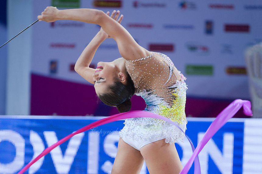 VICTORIA VEINBERG FILANOVSKY of Israel performs with ribbon at 2016 European Championships at Holon, Israel on June 18, 2016.