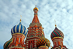 Photo by Heathcliff Omalley..Moscow 29 October 2007.Sightseers near St Basil's Cathedral in Moscow's Red Square, which was built in the 16th century to celebrate Ivan the Terrible's capture of the Tartar stronghold of Kazan.