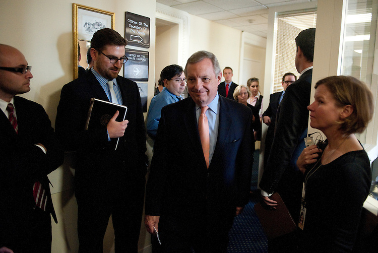 UNITED STATES - SEPTEMBER 22: Sen. Richard Durbin, D-Ill., leaves the Senate Democrats' news conference in the Capitol on Thursday Sept. 22, 2011, to urge House Republicans to fully fund disaster relief. (Photo By Bill Clark/Roll Call)