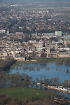 Thames in flood .Oxford.<br /> View towards Christchurch meadow in full flood and central  Oxford in background