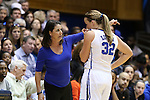 22 March 2014: Duke head coach Joanne P. McCallie (left) talks with Tricia Liston (32). The Duke University Blue Devils played the Winthrop University Eagles in an NCAA Division I Women's Basketball Tournament First Round game at Cameron Indoor Stadium in Durham, North Carolina.