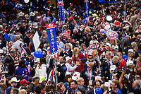 CLEVELAND, OH - JULY 21:  Delegates celebrate after Republican nominee Donald Trump's  keynote address at the Republican Convention, July 21, 2016 at the Quicken Loans Arena in Cleveland, Ohio.  (Photo by Brooks Kraft/ Getty Images)