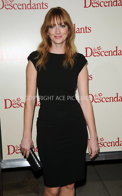 WWW.ACEPIXS.COM . . . . .  ....November 15 2011, LA....Judy Greer arriving at the premiere of 'The Descendants' at AMPAS Samuel Goldwyn Theater on November 15, 2011 in Beverly Hills, California.....Please byline: PETER WEST - ACE PICTURES.... *** ***..Ace Pictures, Inc:  ..Philip Vaughan (212) 243-8787 or (646) 679 0430..e-mail: info@acepixs.com..web: http://www.acepixs.com