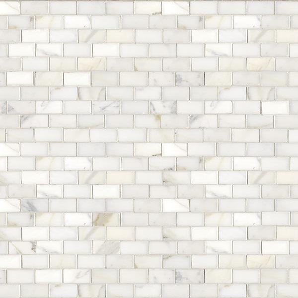 Running Bond, a hand-cut stone mosaic, shown in polished 3cm x 6cm Calacatta.