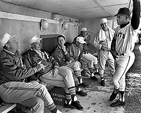 OAKLAND A'S coaches get visit from San Francisco Giants star Willie Mays...from the left: Manager Hank<br />Bauer, Joe DiMaggio, John McNamara, Bill Posedel, Sherm Lollar and Vern Hoscheit. (1968 photo by Ron Riesterer)