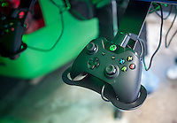 An XBox controller at the Microsoft XBoxone tent on opening day of Super Bowl Boulevard in Midtown Manhattan in New York on Wednesday, January 29, 2014. Despite the game being held in New Jersey on February 2 sports fans are expected to pack New York to take part in the multitude of activities planned around the game including the 13 block stretch of Broadway, running from 34th street through 47th street that will host Super Bowl Blvd. from January 29 to February 1. (© Richard B. Levine)