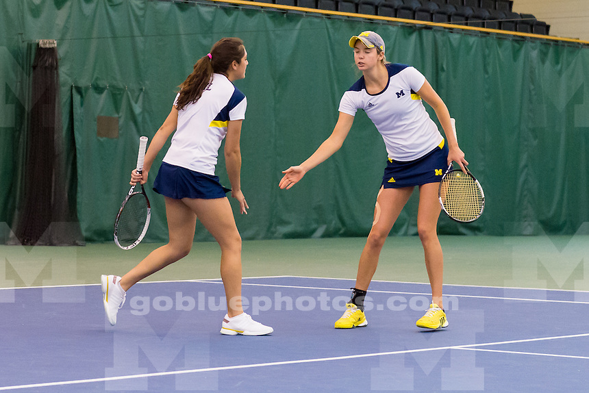 The University of Michigan women's tennis team; 6-1, victory over Maryland at the Varsity Tennis Center in Ann Arbor, Mich. on April 09, 2016.