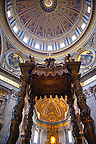 Baroque Canopy ( baldacchino) by Bernini and the dome  of St Peter's by Michelangelo , The Vatican, Rome
