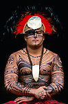Portrait of Marquesan man, Polynesian Cultural Center, Laie, Hawaii