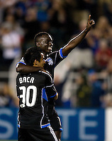 Simon Dawkins of Earthquakes celebrates with Rafael Baca after Dawkins scored a goal during the second half of the game against Seattle at Buck Shaw Stadium in Santa Clara, California on August 11th, 2012.   Earthquakes defeated Sounders, 2-1.