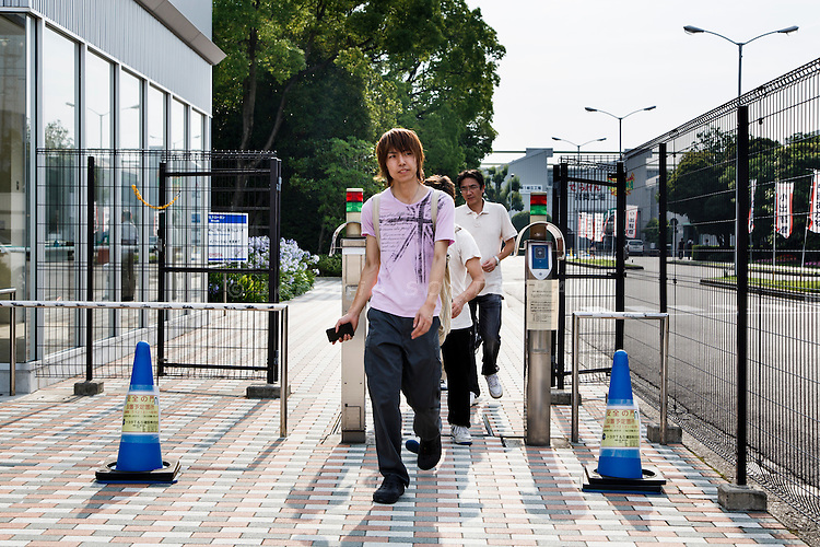 Toyota city, July 16 2014 - 4pm, workers living Toyota's Takaoka plant after the shift.