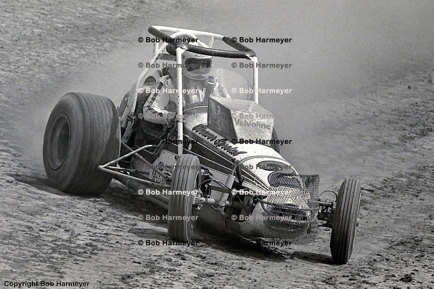 Rollie Beale races his 1976 USAC sprint car at Eldora Speedway, Rossburg, Ohio.