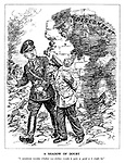 """A Shadow of Doubt. """"I sometimes wonder whether our civilian morale is quite as good as it might be."""" (Himmler and Goebbels discuss the situation among the burning rubble of Berlin while the shadow of discontent appears behind them)"""