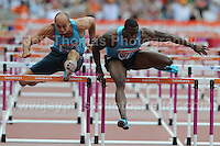 The Mens 110m Hurdles race at the Sainsbury Anniversary Games, Olympic Stadium, London England, Saturday 27th July 2013-Copyright owned by Jeff Thomas Photography-www.jaypics.photoshelter.com-07837 386244. No pictures must be copied or downloaded without the authorisation of the copyright owner.