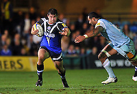 Nathan Catt in possession. Aviva Premiership match, between Bath Rugby and Northampton Saints on September 14, 2012 at the Recreation Ground in Bath, England. Photo by: Patrick Khachfe / Onside Images