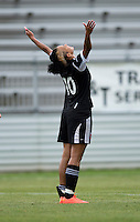 Lianne Sanderson (10) of the D.C. United Women celebrates her goal during the game at the Maryland SoccerPlex in Boyds, Maryland.  The D.C. United Women defeated the Virginia Beach Piranhas, 3-0, to advance to the W-League Eastern Conference Championship.