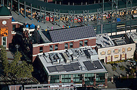 aerial photograph of solar panels at Giants stadium AT&T park, San Francisco