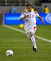 CARSON, CA - March 25, 2012: Manuel Asprilla (18) of Panama during the Mexico vs Panama match at the Home Depot Center in Carson, California. Final score Mexico 1, Panama 0.