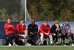 12 November 2008: Maryland head coach Sasho Cirovski (left) watches from the bench. The University of Maryland defeated the University of North Carolina 1-0 at Koka Booth Stadium at WakeMed Soccer Park in Cary, NC in a men's ACC tournament quarterfinal game.