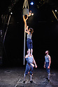 Ockham's Razor present TIPPING POINT, at Platform Theatre, as part of the London International Mime Festival. Picture shows: Alex Harvey, Emily Nicholl (aloft),  Nich Glazin, Steve Ryan