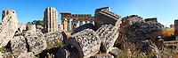 Fallen column drums of Greek Dorik Temple ruins  Selinunte, Sicily