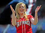 13 April 2009: A member of the Washington Nationals Nat Pack entertains the crowd during the Home Opening Game against the Philadelphia Phillies at Nationals Park in Washington, DC. The Nats fell short in their 9th inning rally, losing 9-8, and marking their 7th consecutive loss of the 2009 season. Mandatory Credit: Ed Wolfstein Photo