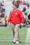 College Park, MD - November 26, 2016: Rutgers Scarlet Knights head coach Chris Ash yells at the referee during game between Rutgers and Maryland at  Capital One Field at Maryland Stadium in College Park, MD.  (Photo by Elliott Brown/Media Images International)
