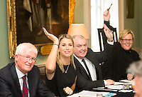 02/04/2015<br /> (L to R ) <br /> Prof paddy Broe Clinical Director &amp; Past President Royal College of Surgeons in Ireland, <br /> Vogue Williams Model, DJ &amp; Presenter, Assitant Garda Commissioner Derek Byrne<br /> Grainne O Carroll UTV producer<br /> during the Pride of Ireland judging day in the Mansion House, Dublin.<br /> Photo:  Gareth Chaney Collins