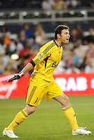 Vancouver Whitecaps goalkeeper Joe Cannon urges his players to go forward... Sporting KC defeated Vancouver Whitecaps 2-1 at LIVESTRONG Sporting Park, Kansas City, Kanas.
