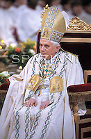 Pope Benedict XVI during the ecumenical ceremony of Vespers in the in St. Paul Outside the Walls' Basilica in Rome, Italy, 25 January 2010.