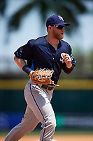 Charlotte Stone Crabs center fielder Jake Fraley (23) jogs to the dugout during a game against the Bradenton Marauders on April 9, 2017 at LECOM Park in Bradenton, Florida.  Bradenton defeated Charlotte 5-0.  (Mike Janes/Four Seam Images)