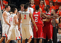 March 1, 2011 - Charlottesville, Virginia-USA; North Carolina State Wolfpack forward C.J. Leslie (5) gets mad after being fouled intentionally by Virginia Cavaliers forward Will Sherrill (22) during an NCAA basketball game at the John Paul Johns arena. Virginia won 69-58. Photo/Andrew Shurtleff (Credit Image: © Andrew Shurtleff/ZUMApress.com)