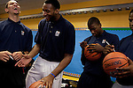 ....{June 27, 2012} {4:00pm} -- New York, NY, U.S.A.Duke basketball star Austin Rivers laughs with potential draft players Andre Drummond, Michael Kidd-Gilchrist and Dion Waiters at the Dunlevy Milbank Boys &amp; Girls Club in Harlem before the NBA draft Thursday in Manhattan, New York on June 27, 2012. .