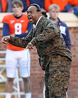 CHARLOTTESVILLE, VA- NOVEMBER 12: Head coach Mike London of the Virginia Cavaliers reacts to a play during the game against the Duke Blue Devils on November 12, 2011 at Scott Stadium in Charlottesville, Virginia. Virginia defeated Duke 31-21. (Photo by Andrew Shurtleff/Getty Images) *** Local Caption *** Mike London
