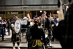 Saturday, April 14,  2007, New York, New York.. The 9th annual Tartan Day Parade was held today on 6th Avenue between 44th and 58th Streets.. Thousands turned out to play the drums, pipes and to view all those dressed for the occasion.  . 3rd class Follador (center) of the US Naval Academy Pipes and Drums practices before the start of the parade.