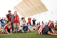 USA fans look tense as they watch the later stages of the game. The Red Bulls hosted a FIFA World Cup viewing party for the USA v Italy match at the Giants Stadium practice bubble, East Rutherford, NJ, June 17, 2006.