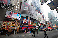 "A 90 foot billboard featuring a naked photo of performer Pink is unveiled in Times Square in New York on Thursday, February 12, 2015. Pink is participating in the animal rights group Peta's ""I'd Rather Go Naked Than Wear Fur"" campaign. The photo is by noted photographer Ruven Afanador. Other celebrities that have participated include Olivia Munn, Pamela Anderson, and Wendy Williams among others. (© Richard B. Levine)"