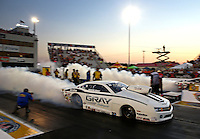 Sep 27, 2013; Madison, IL, USA; NHRA pro stock driver Shane Gray during qualifying for the Midwest Nationals at Gateway Motorsports Park. Mandatory Credit: Mark J. Rebilas-