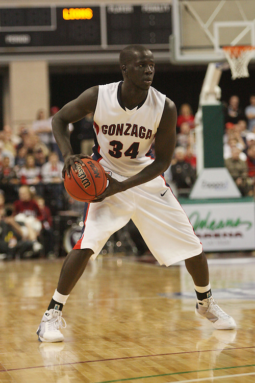 LAS VEGAS, NV - MARCH 7:  Bol Kong during the Gonzaga Bulldogs 77-62 win over Loyola Marymount in the WCC Basketball Tournament on March 7, 2010 at Orleans Arena in Las Vegas Nevada.
