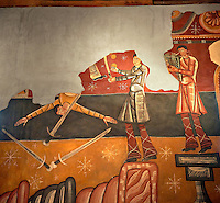 """Twelfth century restored Romanesque Frescoes depicting The """"Stoning of St. Steven"""" in the church of Saint Joan of Boi, Val de Boi, Alta Ribagorca, Pyranese, Spain. A UNESCO World Heritage Site"""