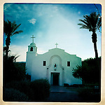 St. Richard Catholic Church in the mission style, Borrego Springs, California, USA.